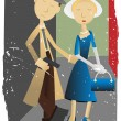Abstract Pulp Fiction Couple — Stock Vector