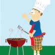 Man grills food outside. — Stock Vector