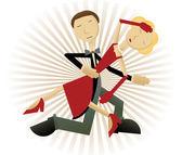 Feixes de raio casal dançando — Vetor de Stock