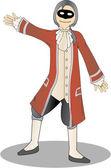 Harlequin Man in Red Coat in presenting — Stock Vector