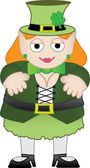 Female leprechaun smiling — Stock Vector