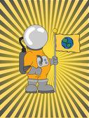 Astronaut Holding a Flag raybeam backgro — Stock Vector