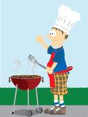 Man grills voedsel buiten. — Stockvector