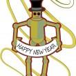 Colorful Robot holding Happy New Year si — Stock Vector