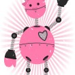 Pink Girl Robot with grunge - Stock Vector