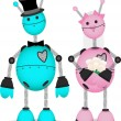 Robot Bridge and Groom stand together - Imagen vectorial