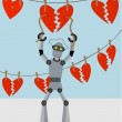 Robot repairing strings of broken hearts - Stock Vector