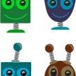 Robot Heads Cute — Stock Vector