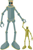 Father and child robots holding hands — Vector de stock