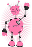 Pink Girl Robot with grunge — Stock Vector