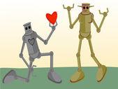 Male Robot giving his heart to Female Ro — Stockvektor