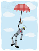 Robot hanging from floating umbrella — Stock Vector