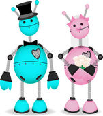 Robot Bridge and Groom stand together — Vector de stock