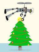 робот, поставив звезды на вершине дерева, используя — Cтоковый вектор