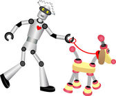 Robot walking robot dog on leash — Stock Vector
