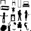 Stock Vector: Random batch of silhouettes woman, juggl