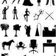 Stock Vector: Silhouettes , robots, offices, sce