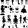 Silhouette of , monsters and robot — Stock Vector