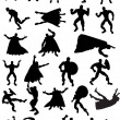 Superhero Silhouettes - Stock Vector