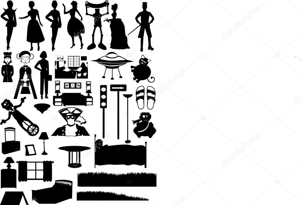Collection of over 30 silhouetted , places, and furniture — Stock Vector #2551769