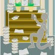 Stock Vector: Messy bookcase