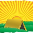 Glowing sun rise over camping tent — Stock Vector #2572727