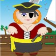 Female Pirate standing on boat — Stock Vector