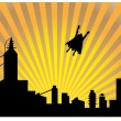 Silhouetted superhero flying off into th - Stock Vector
