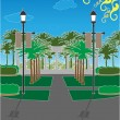 Stock Vector: Palm Tree Park surrounded