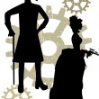 Silhouettes of Steampunk Victorians grun - Stock Vector