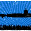 Submarine Silhouette at Bottom of Sea Fl — Stock Vector