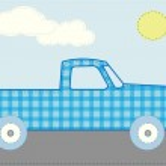 Craft patchwork blue cartoon truck road — Stock Vector
