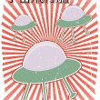 Foreign B-Movie Poster Style UFOs Japane — Stock Vector #2573239