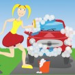 Stock Vector: Woman washing car