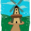 Royalty-Free Stock Vector Image: Windmill in isolated in the countryside