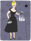 Woman serving cocktail drink — Stock Vector