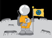 Astronaut on the moon — Stock Vector