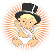 Baby New Year wearing hat sash waving ad — Stock Vector