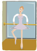 Ballerina gripping pole lifting leg — Stock Vector
