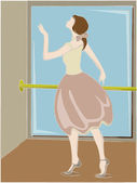 Ballerina posing next to pole and mirror — Stock Vector