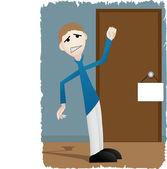 Upset Man Banging on Door — Stock Vector