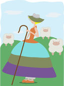 Little Bo Peep with sheeps — Stock Vector