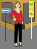 Business woman heading for success — Stock Vector