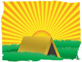 Glowing sun rise over camping tent — Stock Vector