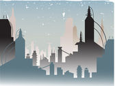 Glowing Fading Stylish Futuristic City — Stock Vector