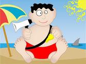 Lifeguard sitting on beach - Vector — Stock Vector