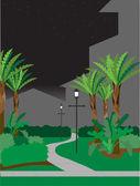 Walking pathway at night — Stock Vector