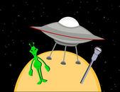 Alien parking spaceship — Stock Vector