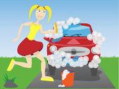 Woman washing car — Stock Vector