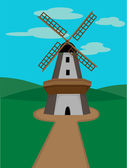 Windmill surrounded by green valleys on — Stock Vector